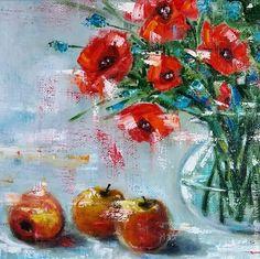 """Купить Картина """"Маки"""" - ярко-красный, маки, натюрморт маслом, картина в подарок, картина для интерьера"""