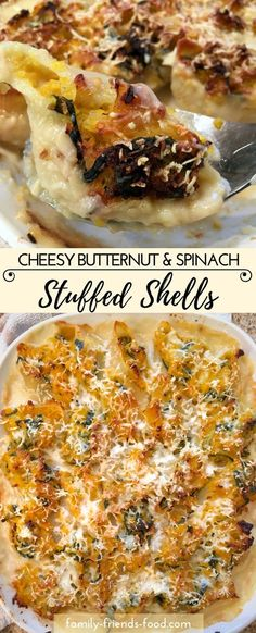 These gorgeous stuffed shells  (conchiglioni) are filled with a delicious vegetarian squash & spinach mixture, nestled in a cheesy sauce & topped with more cheese before baking to crispy perfection.