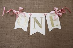 ONE High Chair Banner | Pink and Gold Birthday Banner