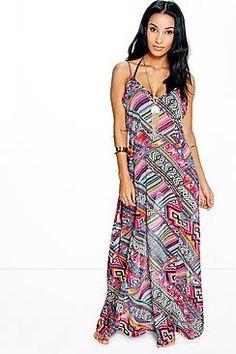 India Mixed Geo Chiffon Beach Maxi Dress