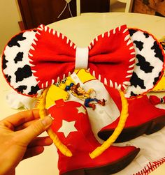 Toy Story Jessie Mickey ears made by me!! All felt, used thread and hot glue gun!