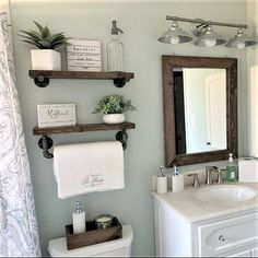 mirror shelves toilet paper box farmhouse bathroom decor ideas olathe custom furniture store - Tidy up your toiletries with this floating shelf and towel bar set. The sturdy bathroom floating shelves provide storage in a rustic, yet cozy, farmho. Wooden Wall Shelves, Wood Floating Shelves, Mirror Shelves, Wall Wood, Small Shelves, Ladder Shelves, Decorative Shelves, Floating Cabinets, Floating Shelf Decor