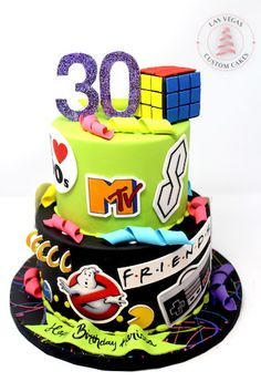 We design and build custom cakes for kids. We pride ourselves on delivering unique cakes for your special event that look great AND taste great! 30th Birthday Themes, 80s Birthday Parties, Themed Birthday Cakes, 90th Birthday, 90s Theme Parties, 30th Birthday Cake For Women, Birthday Ideas, 90s Theme Party Decorations, Pie Cake
