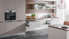 Flat House Design, Modern House Design, Grey Stone, Indoor, Table, Furniture, Home Decor, Kitchens, Kitchen Ideas