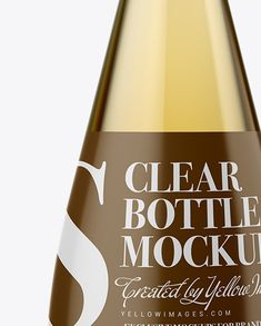 Clear Glass Bottle With White Wine Mockup Close-Up