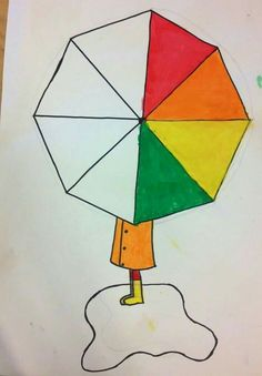 My friend and fellow art teacher shared this super eye-catching project at our… Art Et Illustration, Illustrations, Color Wheel Art, 2nd Grade Art, Umbrella Art, Kindergarten Art, Spring Art, Art Lessons Elementary, Elements Of Art