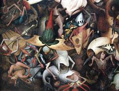 Bruegel, Fall of Rebel Angels (detail) (Note the central demon, shown transforming from angel with shining armour into more monstrous form) Jan Van Eyck, Pedro Pablo Rubens, Pieter Brueghel El Viejo, Fabulous Beasts, Oh The Humanity, Pieter Bruegel The Elder, Heaven And Hell, Visionary Art, Kitsch