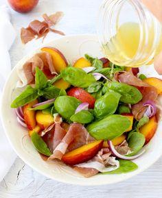 Basil Peach Salad Recipe with Honey Lemon Vinaigrette & Prosciutto di Parma
