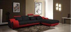 Catania Corner Sofa Black & Red This stunning Italian designed corner sofa suite in beautiful top grade bonded leather has numerous features, including drinks tray & head supports. The suite is in a premium bonded leather to all wearing parts, and leather match to unused areas such as the back and sides.