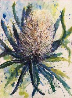 Banksia. Watercolour Watercolor Animals, Watercolour Painting, Watercolor Flowers, Watercolors, Australian Wildflowers, Australian Native Flowers, Flower Vases, Flower Art, Kangaroo Paw