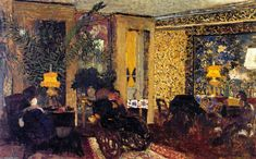 Interior, The Salon with Three Lamps, Rue Saint-Florentin, Frescoes by Edouard Vuillard (1868-1940, France)