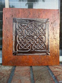 """Florida Celtic Art - Study in Knots 5 (Chocolate mocha embossed metal on 10"""" x 10"""" weathered board painted with acrylics) Celtic Paganism, Celtic Symbols, Celtic Art, Celtic Knots, Celtic Patterns, Celtic Designs, Pewter Art, Metal Embossing, Painted Boards"""