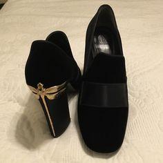 Tory Burch heels Black velvet and Gold Tory Burch Shoes Heels
