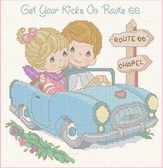 Get Your Kicks On Route 66, Precious Moments, Designs by Gloria & Pat.