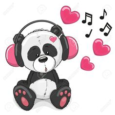 http://previews.123rf.com/images/reginast777/reginast7771509/reginast777150900040/45294993-Cute-cartoon-Panda-with-pink-headphones-Stock-Vector-panda.jpg