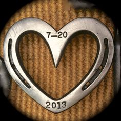 Western wedding cake topper, HORSESHOE heart sign, date stamped, any color, MADE to ORDER via Etsy
