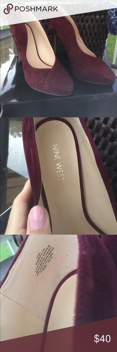 NWB-NineWest 4 1/2inHeelsVelvetDarkBurgundySz9. Adorable and perfect for A girls night out or for the office! Brand New. Nine West Shoes Heels