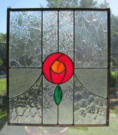 Victorian Style Stained Glass Panel - Olde Rose