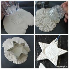 DIY Weiße Sterne aus weißem Ton mit feinem Muster (Tina Dalbøges kreative Erfindungen) DIY white stars made of white clay with a fine pattern (Tina Dalbøge's creative inventions) Salt Dough Christmas Ornaments, Christmas Clay, Clay Ornaments, Homemade Christmas, Christmas Projects, Holiday Crafts, Holiday Ideas, Cheap Christmas, Star Ornament