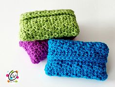 Pocket Tissues Holders. Could also be enlarged for a full-sized soft package holder. FREE crochet pattern.