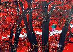 Grazing Sheep in the Grove - Chinese Folk Art Painting - South Chinese Folk Art Paintings