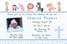 Most recent Free of Charge Invitation Wording baptism Style Now that you've chosen your stationary, it's time to defend myself against wedding invitation wo Baptism Invitation Wording, Christening Invitations Boy, Groomsmen Invitation, Personalized Invitations, Wedding Invitation Templates, Custom Invitations, Baby Christening, Invitation Maker, Invitation Cards