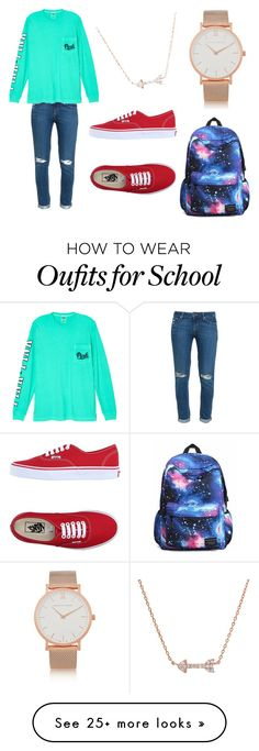 """""""School outfit ✏️"""" by maddieliz28 on Polyvore featuring Paige Denim, Victoria's Secret, Vans and Larsson & Jennings"""