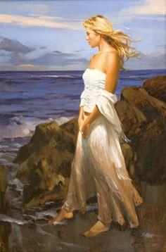Arte na Praia by Richard Johnson (JA, Art Institute Of Chicago, Woman Painting, Beach Art, Beautiful Paintings, Female Art, Art Gallery, Illustration Art, Illustrations, Fine Art