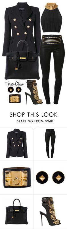 """You Gotta Own It, If You Want It"" by terra-glam ❤ liked on Polyvore featuring Balmain, J Brand, Hermès and Giuseppe Zanotti"