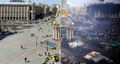 Aυτή η φωτογραφία βρίσκεται στα ΜΜΕ όλου του πλανήτη. Η πλατεία Ανεξαρτησίας του Κιέβου, στην Ουκρανία, τότε και σήμερα. Σήμερα η φωτογραφία φιλοξενείται στην Wall Street Journal. http://www.iefimerida.gr/