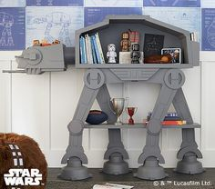 Star Wars AT-AT Bookshelf Cuts An Imperial Colossus Down To Size. As many of these fine nerdy treasures do, the Star Wars AT-AT Bookshelf from Pottery Barn Kids got us thinking. Imagine civil war across a galaxy f. Star Wars Nursery, Star Wars Bedroom, Star Wars Bedding, At At Walker, Star Wars Baby, Star Wars Love, Star Wars Kindergarten, Boy Room, Kids Room