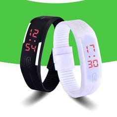 Мода Спорт СВЕТОДИОДНЫЕ Часы  Конфеты Цвет Силиконовой Резины Сенсорный Экран Цифровые Часы женщины Водонепроницаемый Браслет Наручные Часы