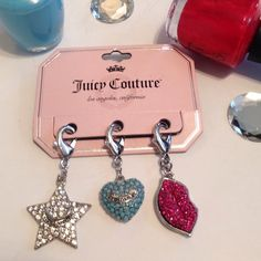 Juicy Couture, Purse & Bag Jewelry Bling Charms NWT, Juicy Couture Hook Clasp, Jewelry Bag and Purse Charms❣These are Adorable! Comes with this Pack of 3 Charms, a Bling Monogramed Juicy Couture Star, Sky Blue Bling Monogramed Heart and Fuchsia Pink, Bling Lips. Great To Dress up any Purse or Bag to give it Some Bling. Juicy Couture Other