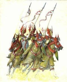 Dragon Princes of Caledor, in ancient times they would ride to battle atop mighty dragons, now they ride to war upon powerful steeds adorned with the regalia in honor of those ancient days
