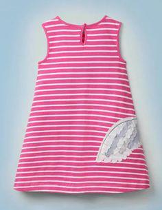 Hedwig Kleid Mit Streifen Und Applikation - Knallrosa/Naturweiß Hedwig, Mini Boden, Baby, Women, Fashion, Pink, Reach In Closet, Stripes, Appliques