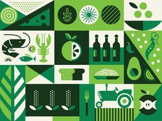 Whole Foods Gift Card wine tractor bread seafood geometric vegetable card fruit farm pattern illustration food Whole Foods Gift Card, Food Gift Cards, Food Gifts, Food Graphic Design, Food Design, Pattern Illustration, Graphic Illustration, Illustration Styles, Steve Wolf