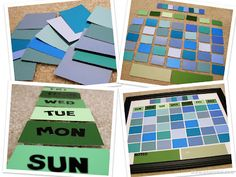 Dry erase calendar made from paint color chips