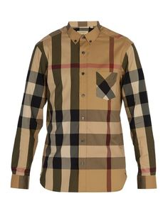 57f617d1897 Burberry brit mens fred camel long sleeve button down exploded check shirt  s