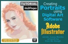 Creating a portrait with Adobe Illustrator - showcasing great artistic ability with art software. Make art with software, as shown by a professional artist.