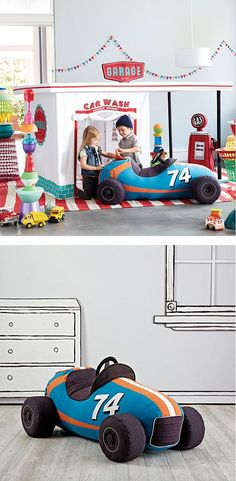 When it comes to plush toy race cars, The Land of Nod's Grandest Prix Plush Speedster takes the checkered flag. It features tons of realistic vintage race car elements like an aerodynamic design, removable tires, racing stripes, all on a comfy plush body.