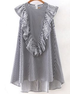 Shop Vertical Striped Sleeveless Ruffle Dipped Hem Zipper Dress online. SheIn offers Vertical Striped Sleeveless Ruffle Dipped Hem Zipper Dress & more to fit your fashionable needs.