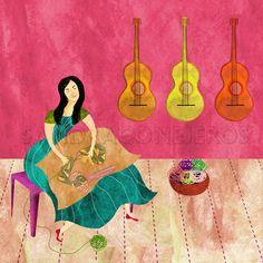 Violeta Parra, www.sandraconejeros.com Latin Music, Arte Popular, Cd Cover, Music Love, Great Artists, Paper Cutting, Art Boards, Folk Art, Activities For Kids