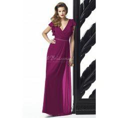 Fuchsia Chiffon Sheath/Column V-neck Floor-length Bridesmaid Dresses(BD724)