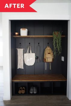 25 Cheap and Easy Home Decor Hacks for a Total House Makeover - The Trending House Closet Nook, Closet Redo, Front Closet, Hallway Closet, Closet Makeovers, Shoe Closet, Mudroom In Closet, Mudroom Shelf, Closet Paint