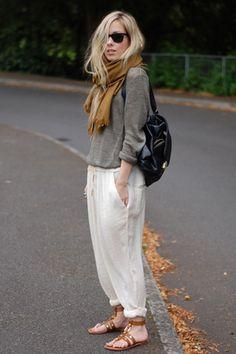 * scarf and harem pants