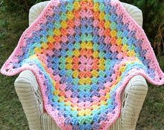 Endless Rainbow Chunky Crochet Baby Blanket Play Pad