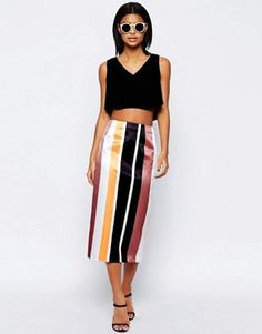 ASOS Stripe Pencil Skirt in Structured Satin Co-ord