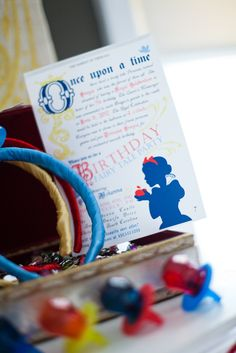 I love the idea of jewels, ring pops, and headbands for a Snow White birthday party. Via Kara's Party Ideas KarasPartyIdeas.com