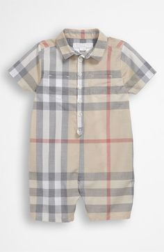 Burberry Woven Short Romper (Infant) available at #Nordstrom