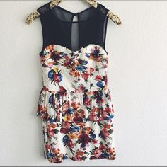 NWOT Forever 21 Floral Peplum Dress - S New Without Tags | Floral print with mesh and peplum details Forever 21 Dresses